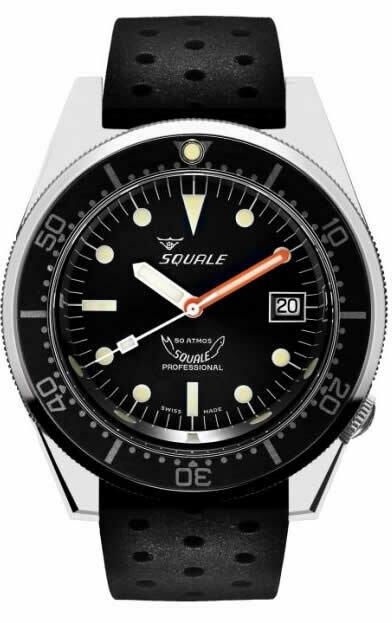 Squale 1521 Classic Black on Rubber Strap