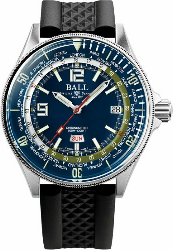 Ball Engineer Master II Diver Worldtime 42mm Blue Dial on Rubber Strap