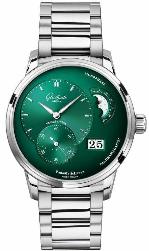 Glashütte Original PanoMaticLunar Green Dial on Bracelet