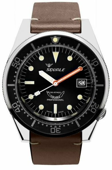 Squale 1521 Classic Black on Leather Strap