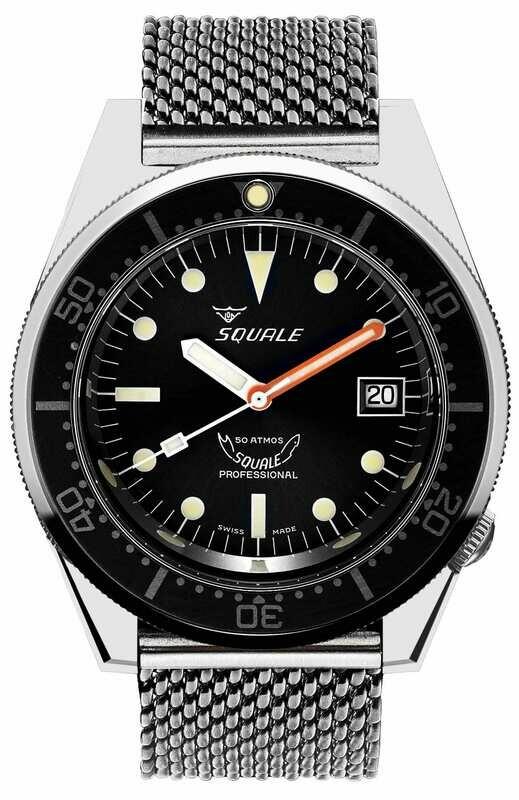 Squale 1521 Classic Black on Bracelet