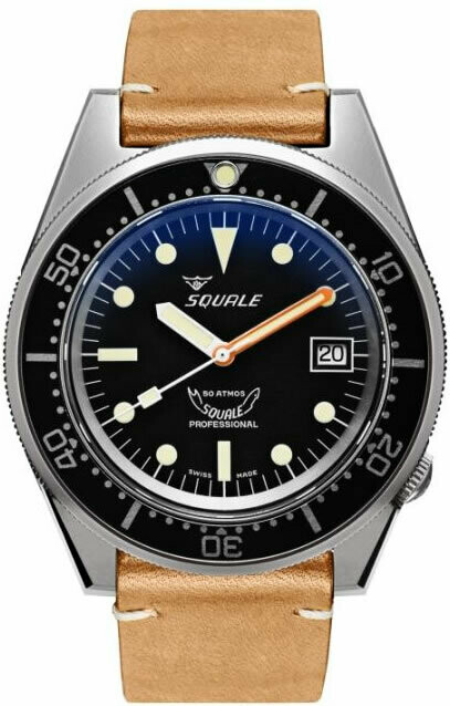 Squale 1521 Classic Black Sand Blasted on Strap
