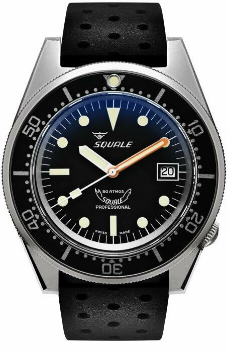 Squale 1521 Classic Black Sand Blasted on Rubber Strap