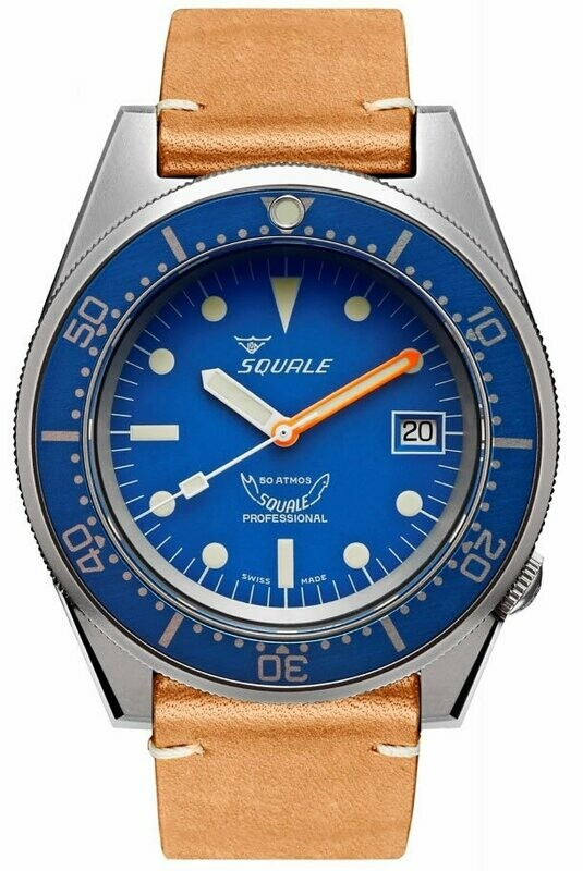 Squale 1521 Classic Blue Sand Blasted on Strap