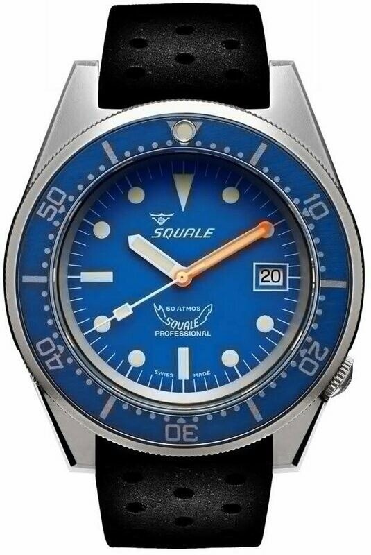 Squale 1521 Classic Blue Sand Blasted on Rubber Strap