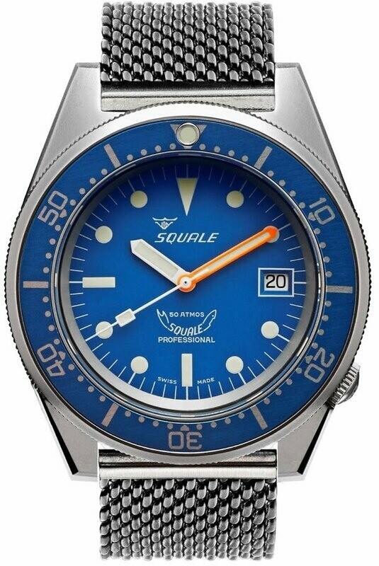 Squale 1521 Classic Blue Sand Blasted on Bracelet