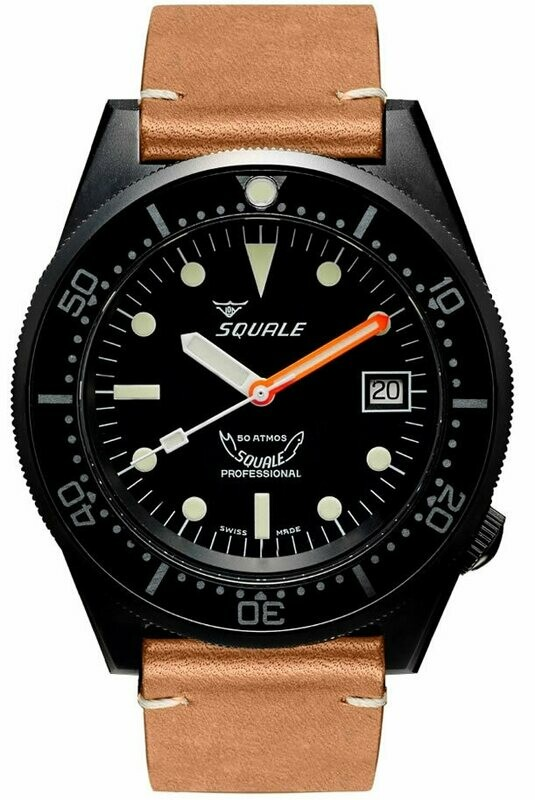 Squale 1521 Classic Black PVD on Strap
