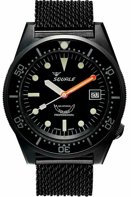 Squale 1521 Classic Black PVD on Bracelet