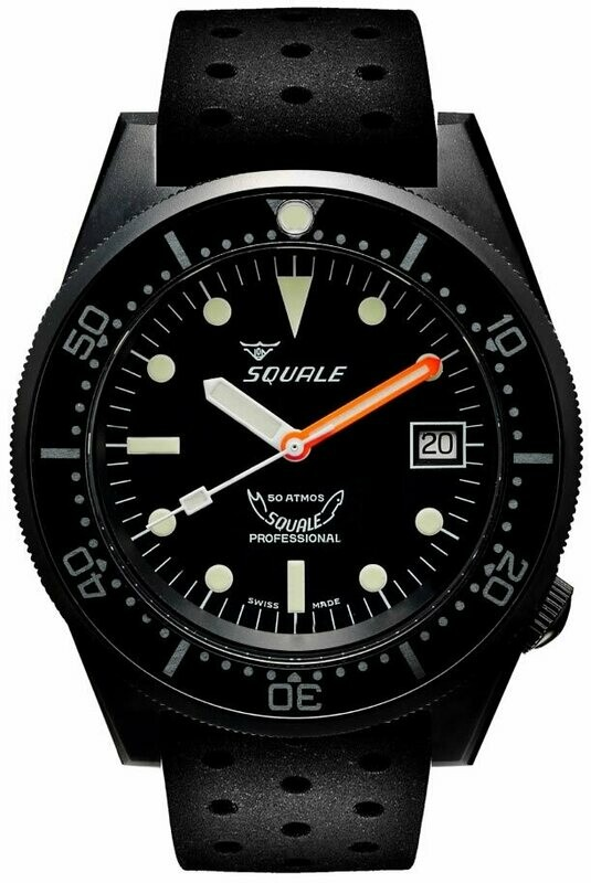 Squale 1521 Classic Black PVD on Rubber Strap