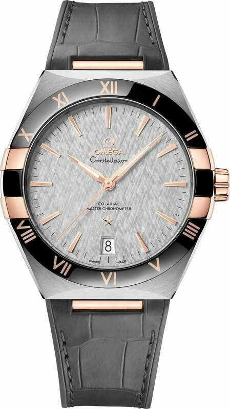 Omega Constellation Co-Axial Master Chronometer Steel Gold Grey Dial on Strap