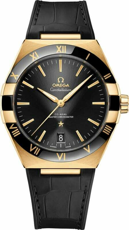 Omega Constellation Co-Axial Master Chronometer Yellow Gold Black Dial on Strap