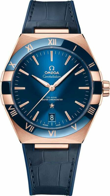 Omega Constellation Co-Axial Master Chronometer Sedna Gold Blue Dial on Strap