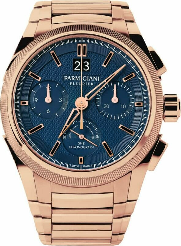Parmgiani Fleurier Tondagraph Rose Gold Blue on Bracelet