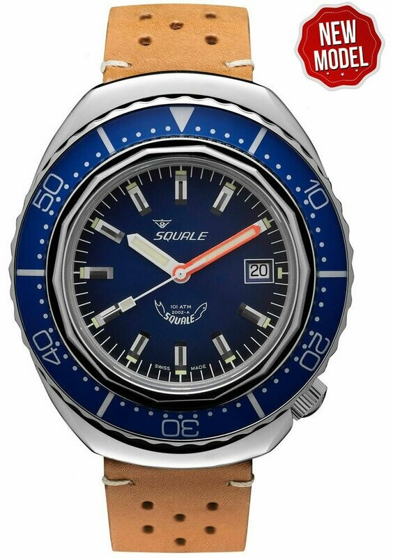 Squale 2002 Blue Dial Sapphire Bezel Brown Leather Strap
