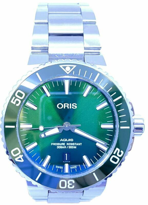 Oris Aquis Date Green Dial on Bracelet 01 733 7730 4157-07 8 24 05PEB