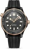 Omega Seamaster Diver 300 Black Ceramic on Rubber Strap