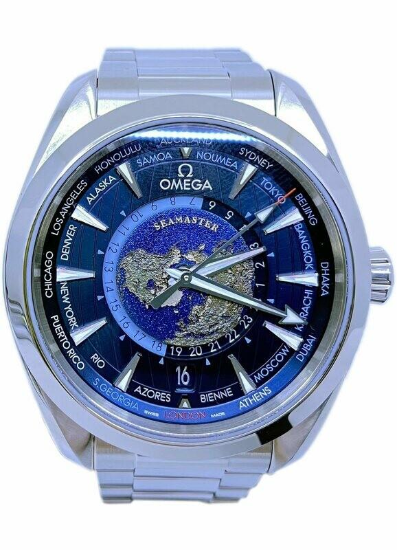 Omega Seamaster Aqua Terra 150m GMT World Timer 43mm on Bracelet 220.10.43.22.03.001