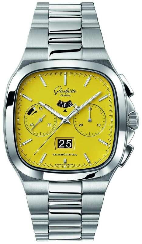 Glashütte Original Seventies Chronograph Panorama Date Sunny Yellow on Bracelet