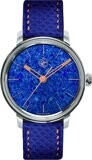 Lundis Bleus Contemporaines Abstract on Snake Leather Strap