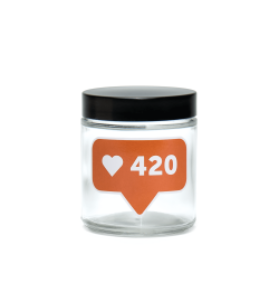 420 Science Clear Screw-Top Glass Jar - 420 Likes Logo