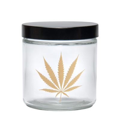 420 Science Clear Screw-Top Glass Jar - Gold Leaf
