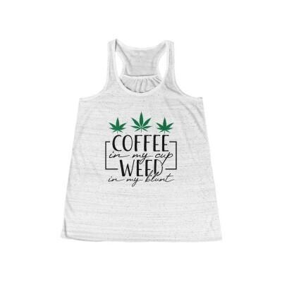 Coffee and Weed - Women's Flowy Racerback Tank