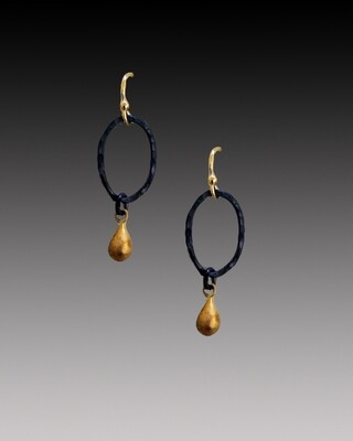 Oval Hoops with Gold Drop