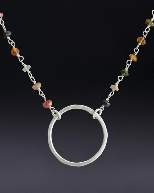 Large Hoop on Multicolored Tourmaline Beaded Chain