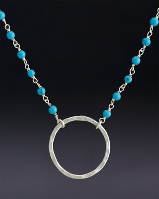 Large hoop on Turquoise Beaded Chain