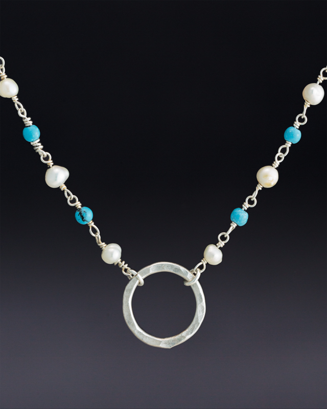 Small hoop on Freshwater Pearl and Turquoise Beaded Chain