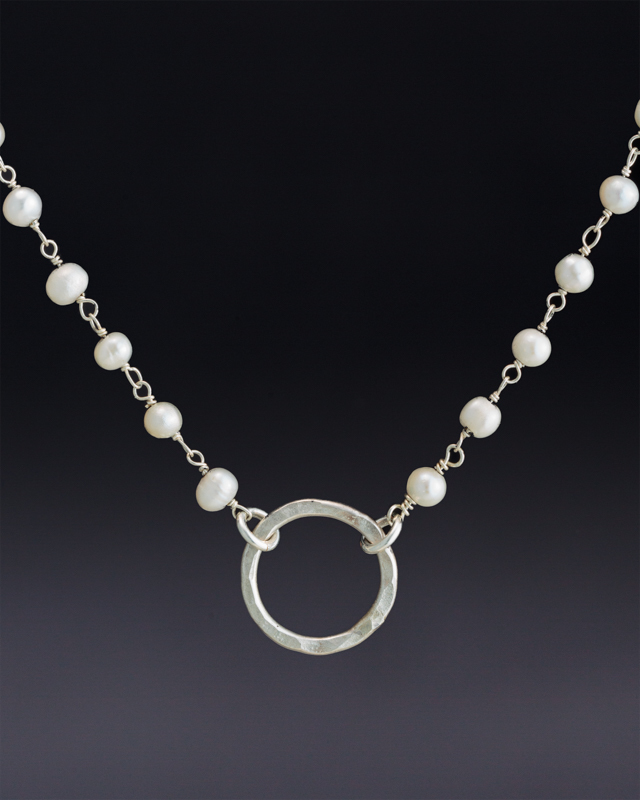 Small hoop on Freshwater Pearl Beaded Chain