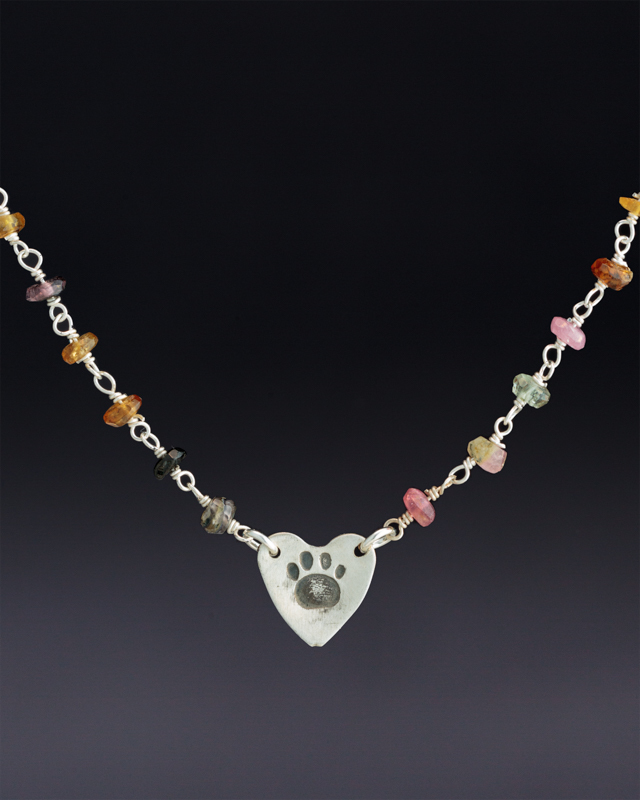 Paw Print on Heart on Multicolored Tourmaline Beaded Chain