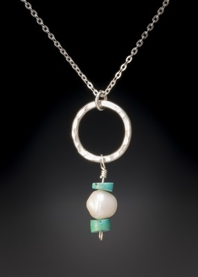 White Freshwater Pearl and Turquoise Heishi Bead on Small Hoop Pendant