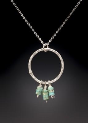 Turquoise Heishi Beads on Large Hoop Pendant