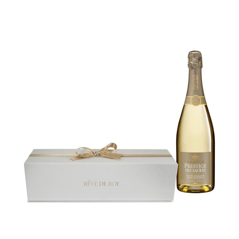 Coffret Prestige Champagne Cuvée Dynastie Blanc de Blancs Bouteille