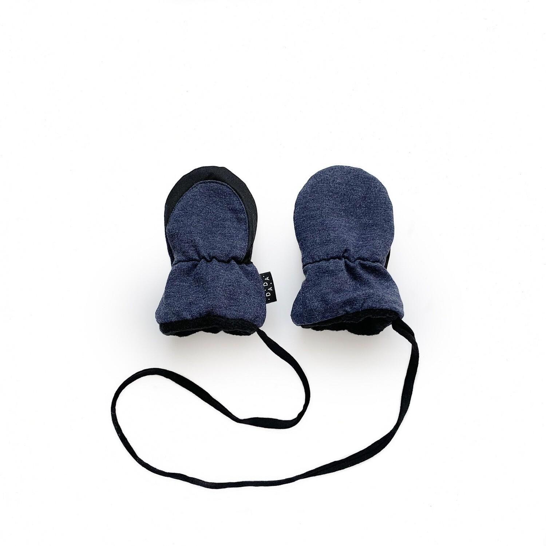 Утеплённые варежки (серо-синий меланж)
