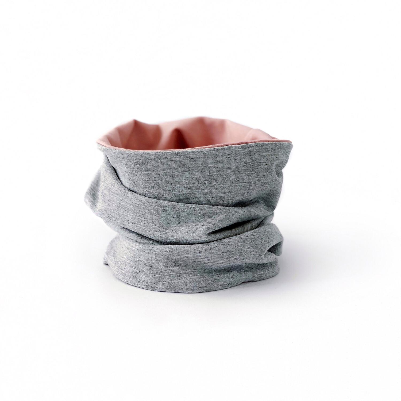 Снуд (серый меланж/пудровый)