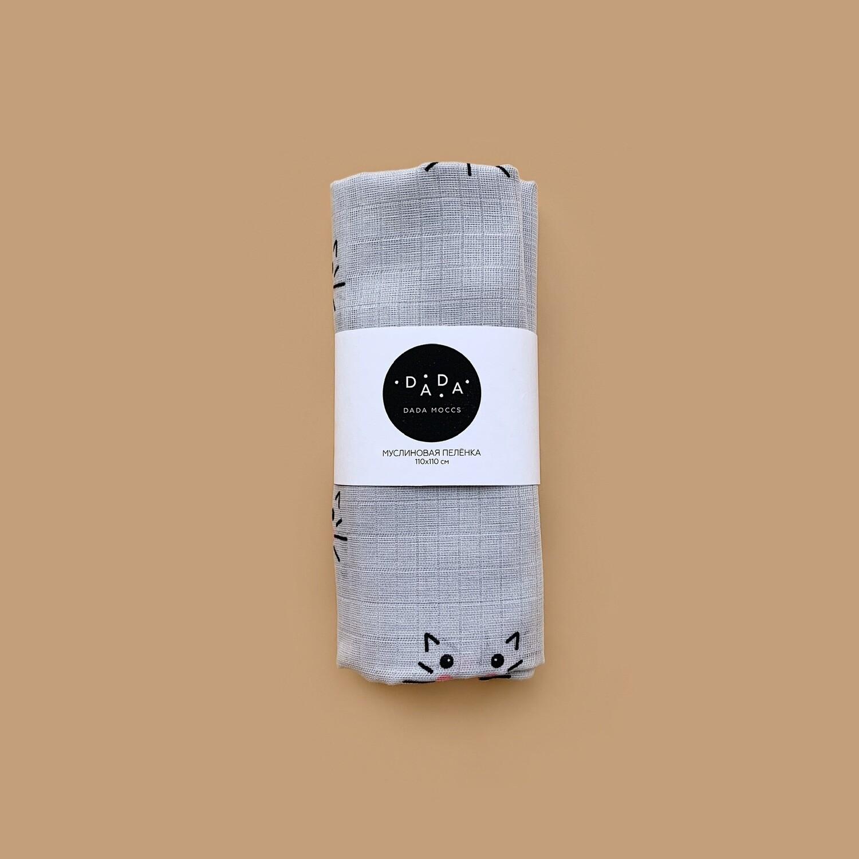 Муслиновая пеленка Cat (grey)