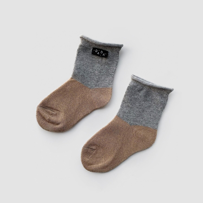 Носки двухцветные Dark Oak+Gray (темный дуб+серый)