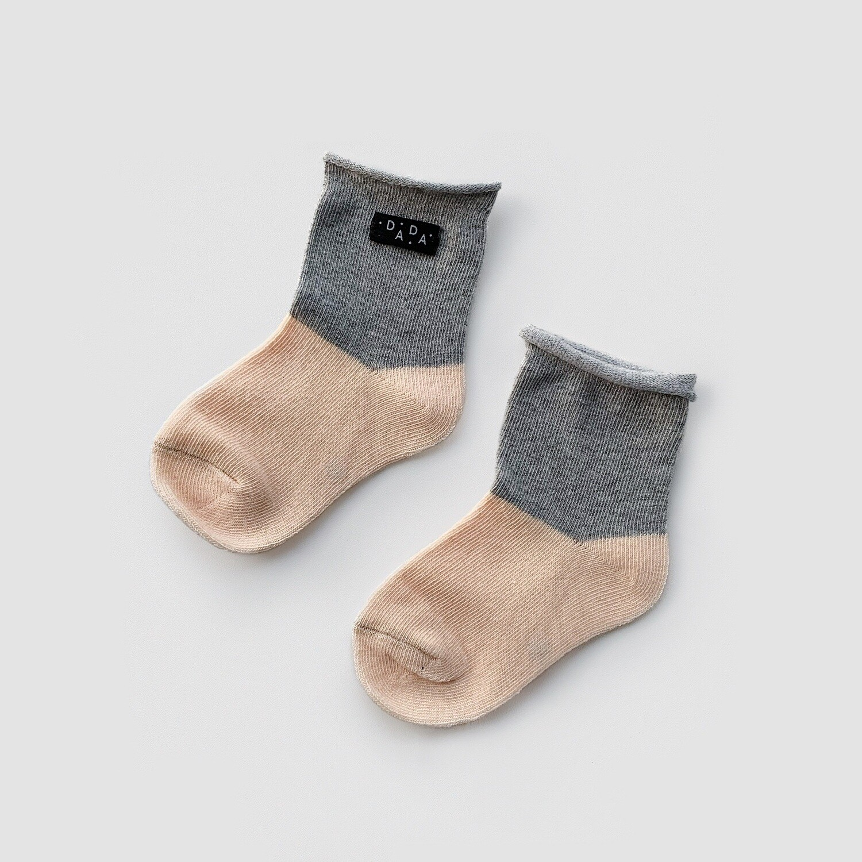 Носки двухцветные Peach+Gray (персик+серый)