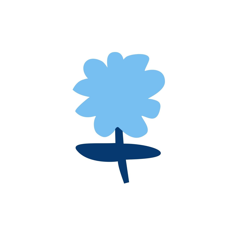Голубая ромашка на белом (файл для самостоятельного распечатывания)