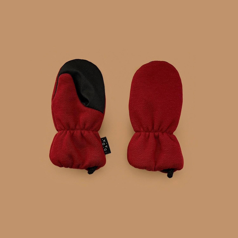 Утеплённые варежки (бордовый)