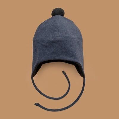 Шапка с помпоном (серо-синий меланж)