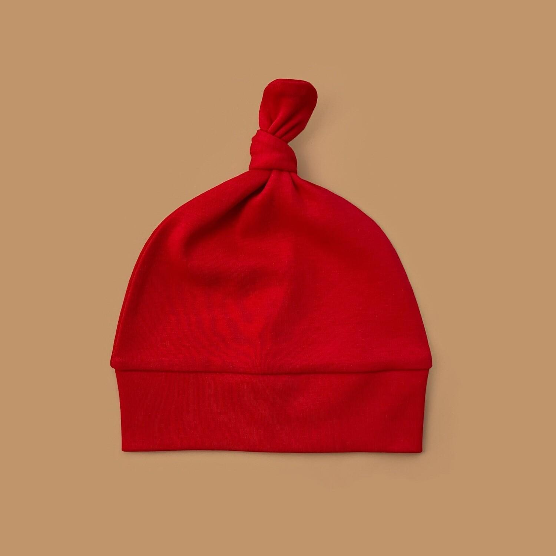 Шапочка с узелком (темно-красный)