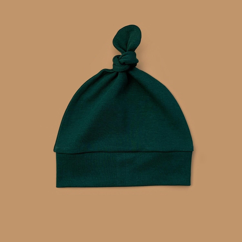 Шапочка с узелком (темно-зеленый)