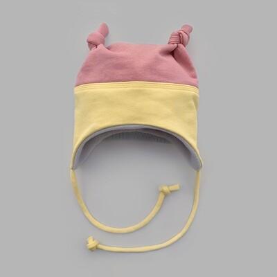 Мультисезонная шапка с узелками (powder pink + illuminating down)