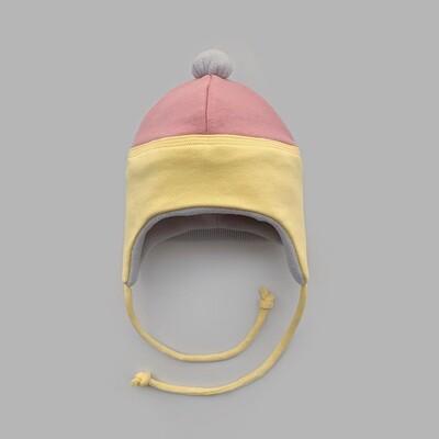 Мультисезонная шапка с помпоном (powder pink + illuminating down)