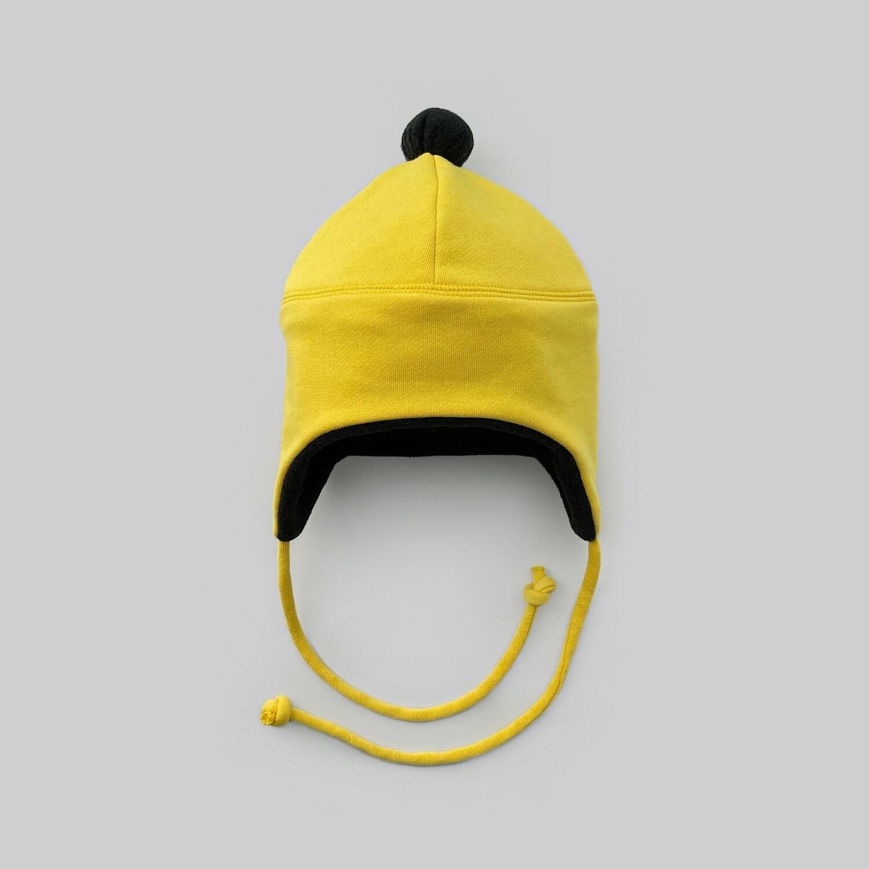 Шапка с помпоном (желтый)