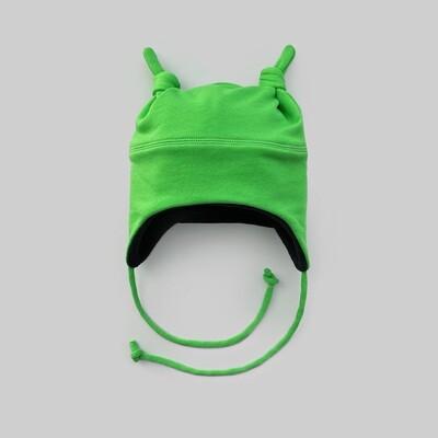Шапка с двумя узелками (зелёный киви)