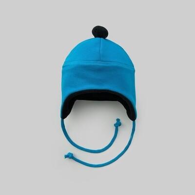 Шапка с помпоном (лазурный синий)